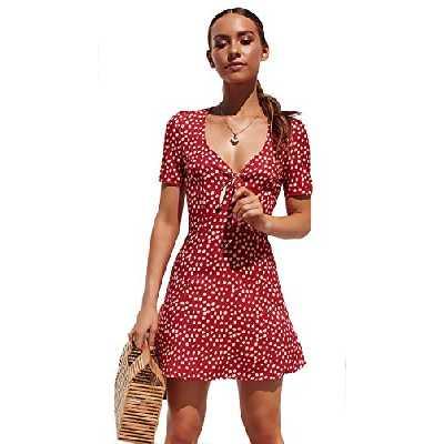 SEMIR Robe Femme Courte Profond V Col Manche Courte Patineuse Petits Poids Chic Imprimé Mode Rouge L