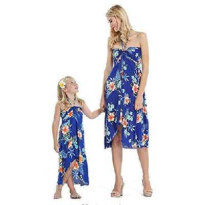 douleway Robe Familiale d'été Longue, Mère et Fille Bohème Longue Maxi Robe de Plage Robes Bustier été Floral Imprimé sans Bretelle Robe