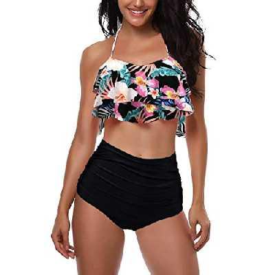 AMAGGIGO Maillot de Bain pour Les Femmes Taille Haute Halter Vintage Push Up Bikini Ensemble Dames Plus La Taille 2 Pièces Maillots de Bain (FBA) (Black Flower, EU 38-40)