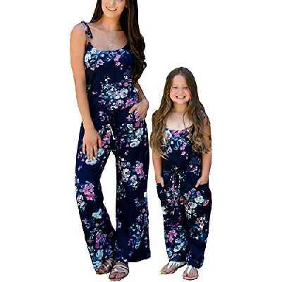 Loalirando Jumpsuit/Combinaison Pantalon Assorti Mère et Fille avec Fleurs Imprimés, XL