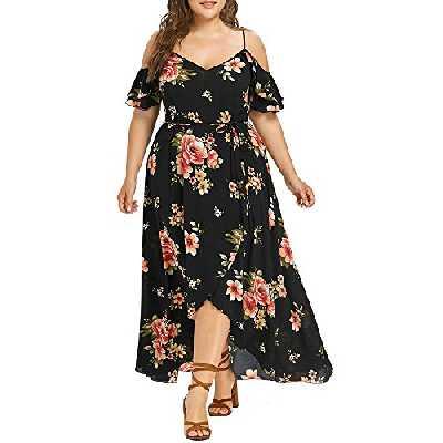 OverDose Soldes Robe Été Bohème Femme Grande Taille en Mousseline Imprimé Floral, Col V Manches Courtes Maxi Manchon Papillon Robe de Soirée Taille L-5XL (Jaune,42)