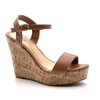 Angkorly - Chaussure Mode Sandale Escarpin Hauts Talons Folk/Ethnique Bohème Femme lanière Simple Basique liège Talon compensé Plateforme 12 CM - Camel - 660-10 T 38