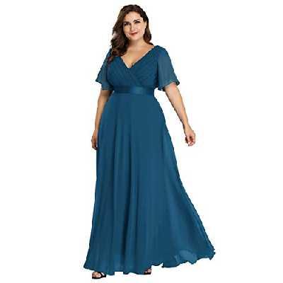 Ever-Pretty Robe de Soirée Longue Femme Double Col V Manche Courte Grande Taille Bleu Sarcelle 52