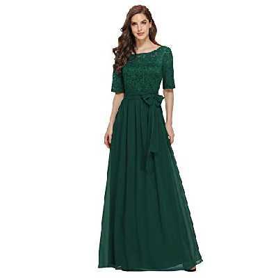 Ever-Pretty Robe de Soirée Femme Mère de Mariage Longue Dentelle Élastique au Dos Grande Taille Vert Foncé 52