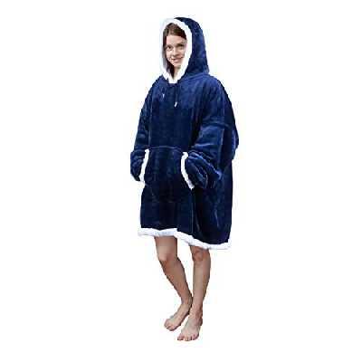 Viviland Sweat à capuche en sherpa doux et chaud avec grande poche frontale - pour adulte - parfait pour une soirée télé - bleu - adulte