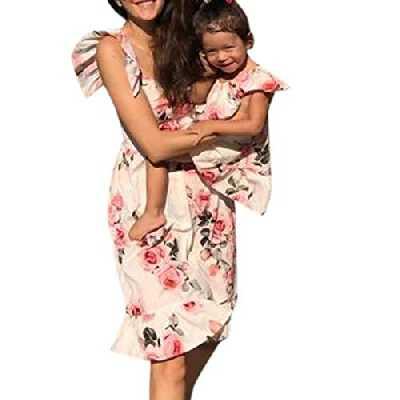 Moneycom Maman & Moi Enfant Robe de Vêtement Imprimé Floral Volants sans Manches Col Rond Tenues Jupe Anniversaire Chic Ceremonie Mariage Mère et Enfant Fille Tenues Mère S