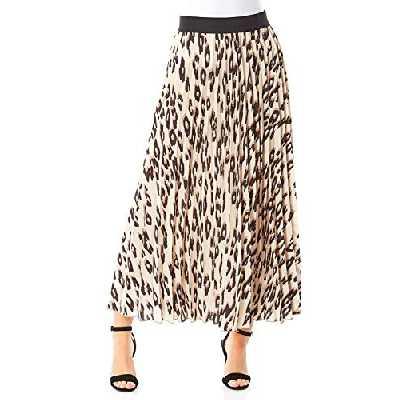 Roman Originals Femmes Jupe plissée à Motif Animalier - Jupes Longues fluides et décontractées à Taille Haute élastique en Contraste et Motif léopard pour Le Quotidien cet été - Marron - Taille 38
