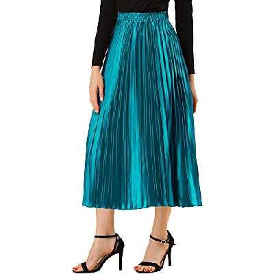 Allegra K Jupe mi-Longue plissée en accordéon pour Femme Paon Bleu S