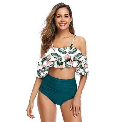 Maillot de Bain 2 Pieces Femme Taille Haute Bikini à Volants Débardeur Vintage Robe de Plage Rembourré Push Up Feuille Verte XL