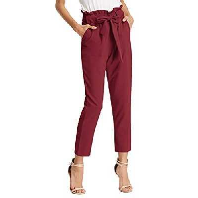 GRACE KARIN Femme Pantalon avec Poches Ceinture élastique Taille Haute Pants Casual Carotte Cigarette Crayon Bow Knot Vin Rouge XL CLAF1011-9 …