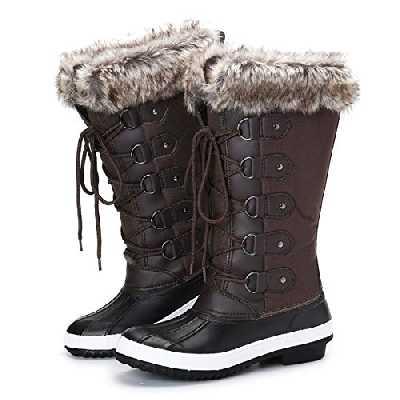 Gracosy Bottes de Neige Imperméable Femme, Bottines de Pluie Hiver Après Ski Fourrure Chaussures Lacets Fourrée Boots Chaude Randonnée pour Mollet Large, Marron, 37 EU