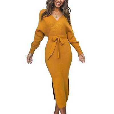 Yieune Robe Pull Femme Tricoté Elégant Manche Longue Pullover Col en V Robe Crayon Dos Nu avec Ceinture Au Genou (Z-Jaune S)