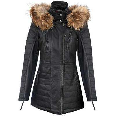 Veste Parka Femme en Cuir Noir Trench Manteaut À Capuche Amovible Et Matelassé S