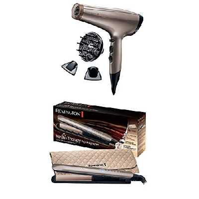 Remington Coffret Cadeau - Set de Coiffure Sèche-Cheveux Keratin Protect et Lisseur Keratin Therapy - AC8002 et S8590