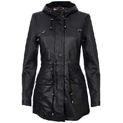 Infinity Leather Trench Manteau à Capuchon Parker en Cuir Noir pour Femme avec Plusieurs Poches XL