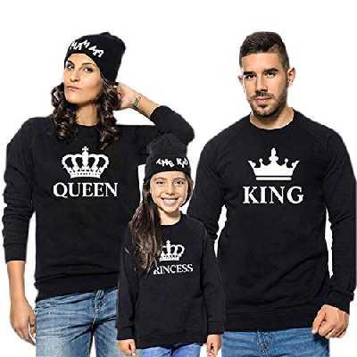 Famille Equipée T-Shirt King Queen Prince Princess Tenue Maman Papa Fille Fils Col Rond Manche Longue Impression Tops Vêtements de Parent-Enfant Ensembles