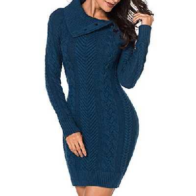 Aleumdr Automne-Hiver Robe Pull Femme Tricoté à Col Revers Bouton Robe Mi-Longue Chandail Pull Chaud S-XL, Bleu, S