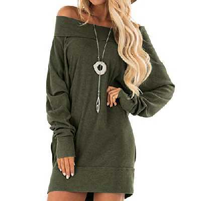 ACHIOOWA Femme Shirt Longues Grande Taille Mini Robe Chic Manche Longue Hauts Chic Oversize Tops Tunique Femme Longue Automne Hiver, B46636*vert, XXL