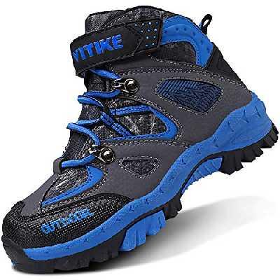 ASHION Chaussures de randonnée garçon Chaussures en Coton pour Enfants Bottes de Neige Fille Trekking Baskets Antidérapantes Bottes(2 Bleu,27 EU)