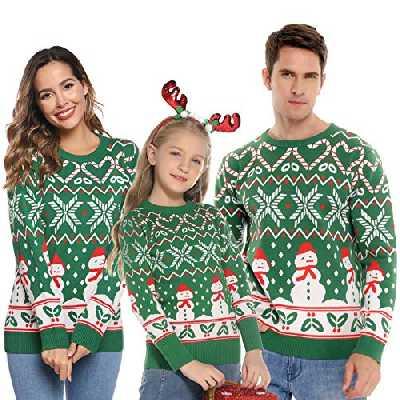 Abollria Pull Noel Femme, Pull Hiver Sweater Femme Bonhomme de Neige Tricoté Unisexe, Vert, S