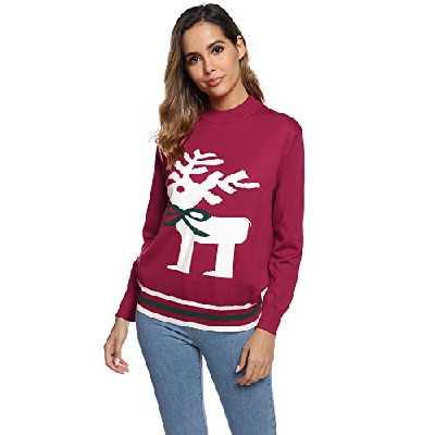 Aibrou Pull Noel Femme Tricot Hiver Noel Chaud Basic Tops Blouse Mode Sweat Chauds Sweatshirt Noel Femme (Rouge-Court, S)