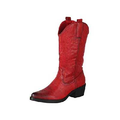 Elara Bottes Femmes de Cowboy Motard Chunkyrayan 301-A32 Red-37