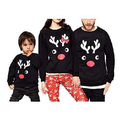 Loalirando Costume Parent-Enfant Noël Sweat-Shirt Assorti Famille à Manches Longues avec Renne de Noël Imprimé - XL - Noir