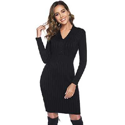 Hawiton Robe Pull Femme Long Col V Manches Longues Tricot avec Bouton Automne Hiver, Noir, XXL