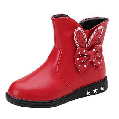 HoSaylike Chaussures Enfant Fille Chaussures Fille Bottines Fille 32 Noeud Papillon À Pois Zip Chaussures BéBé Fille Bottes en Velours Bottes de Neige Antidérapantes (27 EU, Rouge)