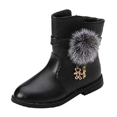 HoSaylike Chaussures Enfant Fille Chaussures Fille Bottines Fille 32 Noeud Papillon À Pois Zip Chaussures Bébé Fille Bottes en Velours Chaussons de Fille en Peluche (31 EU Bébé, Noir)