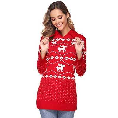 Aibrou Pull Noel Femme Tricot Hiver Noel Chaud Basic Tops Blouse Mode Sweat Chauds Sweatshirt Noel Femme