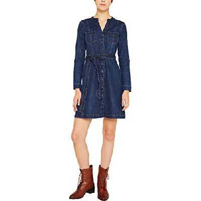 edc by Esprit 109cc1e027 Robe, Bleu (Blue Dark Wash 901), Small Femme