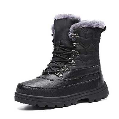 Mishansha Femme Bottes de Neige Chaude Chaussure Apres Ski Antidérapant Bottes Fourrées Bottes Grand Froid Extérieur Boots Hiver, Noir 44