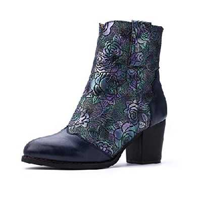 Gracosy Bottines Cuir Femmes Talons, Chaussures de Ville Hiver à Talons Confortable Bottes Santiags Habillé Zip Boots Originales Bohème Colorées 2019, Bleu, 37 EU