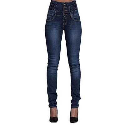 Leslady Jeans Denim Femme Taille Haute Pantalon Skinny Casual Vintage Stretch avec Boutons(L, Bleu Foncé)