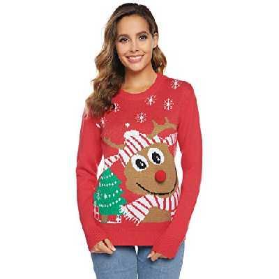 Abollria Pull Femme Noël Sweater Tricot Coton Joyeux Christmas Top T-Shirt Motif Flocon de Neige Arbre de Noël Wapiti Imprimé Fête Dames Noël Col Rond Casual - Rouge - S