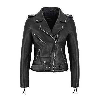 Veste en Cuir Biker pour Femme Veste en Cuir de Vachette Noir Femme Veste Perfecto Classic (36 EU)