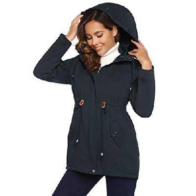 Parka à Capuche Manteau Femme Veste Longue Jacket Zippé Chaud Blouson Manches Longues Casual Sportif Hiver Printemps Automne à la Mode,Bleu Marine,S