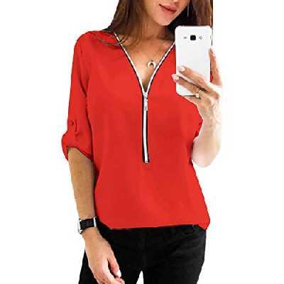 YOINS Chemisier Femmes Tunique Haut Demi Manches Tops Blouse Chemisier Femme Chic Chemise Fermeture Éclair T-Shirt Col V,Nouveau-rouge,S