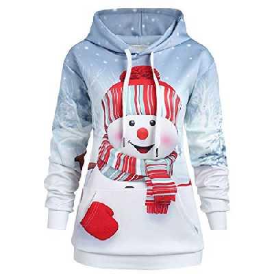 Ucoolcc Sweat Capuche Femme Sweat-Shirts Vetement Automne Mode Sweat à Capuche Noël Snowman Imprimé Manches Longues Chemise Fille Pullover Jumper Hoodie Sweat Tops