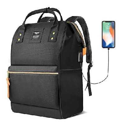 Hethrone Sac à Dos Femme 15.6 Sac à Dos Pc Antivol Imperméable Backpack pour Scolaire Voyage Travail Décontracté Noir USB