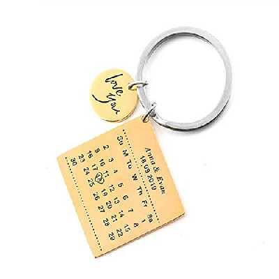 Porte-clés avec Calendrier personnalisé en Acier Inoxydable