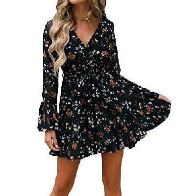 2019 Manches Courtes Femmes Wrap Bohemian Floral Mini Dress Dames d'été de Vacances d'été col en V Taille Haute rétro Jupe de Plage (Noir, XL)