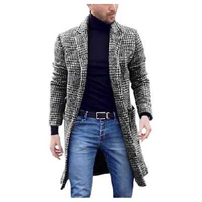 Long Manteau Hommes Hiver décontracté Mode Messire Pied de Poule Veste Outwear