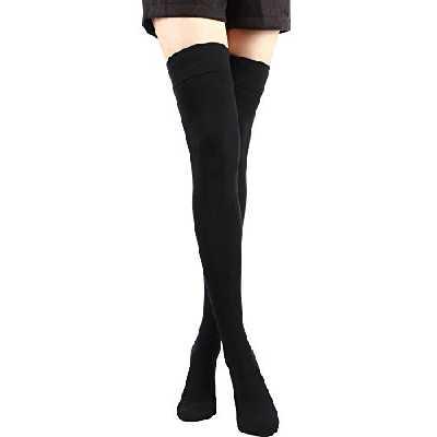 SATINIOR 1 Paire Chaussettes Hautes de Genou Antidérapantes Chaussettes Hautes de Cuisse Noires en Coton Chaussettes de Boots Longues,Noir, 70