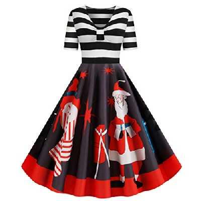 De Noël Robe de Hepburn, ELECTRI Soirée de Noel Femme Imprimé Vintage Manche Longue Robe de soirée noël Party Robe de soirée Swing