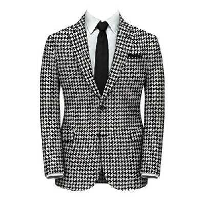 QZI Hommes Veste en Pied-de-Poule Vestes de Costume à Deux Boutons Coupe Slim Manteaux élégants Vestes Chics