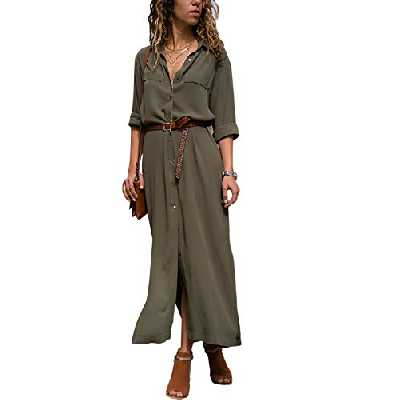 Dokotoo Robe Chemise Femme Maxi Manches Longues Robe Split Couleur Unie Robe de Soirée Col V Cérémonie Cocktail Chic Automne,A-vert,XL