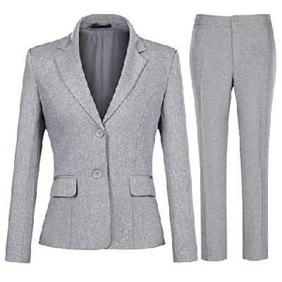 YYNUDA Tailleur 2 pièces Femme Travail Décontracté Bureau Blazer Pantalon Deux Boutons Costumes de Veste Formelle