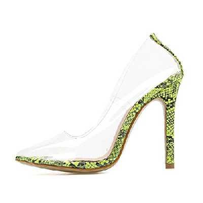 Tomwell Chaussures Simples Sexy Pointues Transparentes à Talons Aiguilles Transparent High Heels Parti Mariage Haute Sandales Pointées B Vert 41 EU